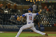 Durham Bulls pitcher Arturo Reyes (11) delivers a pitch during the MiLB International Championship baseball game against the Columbus Clippers, Thursday, September 12, 2019, in Durham, N.C. The Clippers beat the Bulls 6-2 to complete a three-game sweep of the two-time defending champion. (Brian Villanueva/Image of Sport)