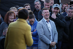 © Licensed to London News Pictures . 25/04/2019. Manchester, UK. Tommy Robinson announces he is running for a seat in the European Parliament in North West England at a barbecue event in Wythenshawe, South Manchester . Photo credit: Joel Goodman/LNP