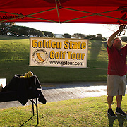 It doesn't take much to set up the course on the Golden State Golf Tour. A canopy, bucket of water for towels on the first tee and a banner is all that's required, but Ed Sanchez gets it done.