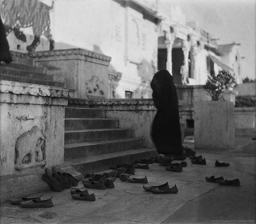 Krishna Temple and Shoes of Worshippers, Udaipur, India, 1929