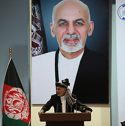 May 3, 2019 - Afghan President Mohammad Ashraf Ghani delivers a speech on the last day of the consultative Loya Jirga in Kabul, capital of Afghanistan, May 3, 2019. Afghan President Mohammad Ashraf Ghani once again called upon the Taliban group to give up fighting and join the peace process to end the war in Afghanistan as the consultative Loya Jirga or grand assembly of elders and chieftain concluded here on Friday. (Credit Image: © Rahmat Alizadah/Xinhua via ZUMA Wire)