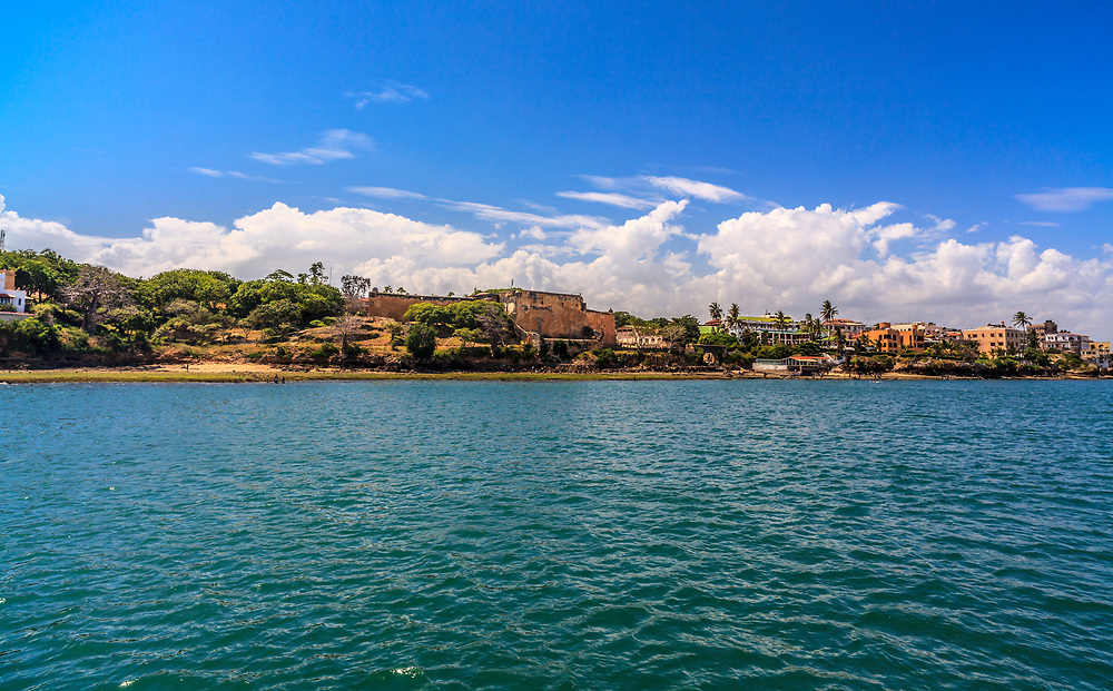 Fort Jesus in Mombasa, Kenya. Historic Fort Jesus, built by the Portuguese in 1593, is situated at the entrance to the old dhow harbor. It is now a museum.