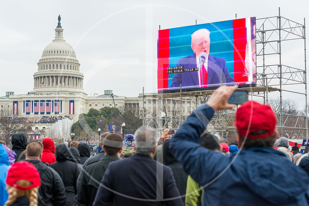 Washington DC, United States - Donald J. Trump addresses the audience during his 2017 inauguration ceremony.