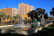 Water fountain in small park garden near Gran Hotel Almeria in the city centre of Almeria, Spain - Parque de Nicolás Salmerón