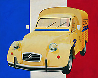 """The Citroen 2CV is also called a goat or a duck depending on the country but in France they call it a """"deuce"""". France has a tradition of building exceptional cars, always inspired by their way of life. The Citroen 2CV is also based on this tradition. Citroen accomplished the mission with brilliance, make a car in which you can transport a bag of potatoes uphill on the steep and winding mountain roads.<br /> <br /> This painting of the Citroen 2CV from 1970 in front of the French flag can be purchased in various sizes and printed on canvas as well as wood and metal. You can also have the painting finished with an acrylic plate over it which gives it more depth.<br /> <br />  -<br /> BUY THIS PRINT AT<br /> <br /> FINE ART AMERICA<br /> ENGLISH<br /> https://janke.pixels.com/featured/citroen-2cv-in-front-of-the-french-flag-jan-keteleer.html<br /> <br /> <br /> WADM / OH MY PRINTS<br /> DUTCH / FRENCH / GERMAN<br /> https://www.werkaandemuur.nl/nl/shopwerk/Citroen-2CV-voor-de-Franse-vlag/661107/132?mediumId=15"""