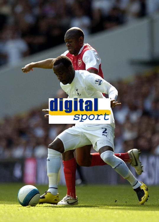 Photo: Olly Greenwood.<br />Tottenham Hotspur v Arsenal. The FA Barclays Premiership. 15/09/2007. Pascal Chimbonda and Abu Daby