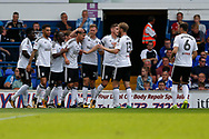 Fulham striker Rui Fonte (9) and Fulham players and celebrates during the EFL Sky Bet Championship match between Ipswich Town and Fulham at Portman Road, Ipswich, England on 26 August 2017. Photo by Phil Chaplin.