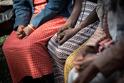 31 January 2019, Southern Nations, Nationalities, and Peoples' Region, Ethiopia: Members of the Tesfa ('hope') self-help group for women, which undertakes community banking to raise women's economic status and independence, share a moment of prayer. Through the Mekane Yesus Food Security Project for Lemo Community, the Ethiopian Evangelical Church Mekane Yesus' development wing Development and Social Services Commission helps women raise their socio-economic status through community banking efforts and education, and helps improve communities' food security through training in agricultural methods suitable in a changing climate.