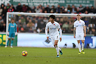 Ki Sung-Yueng of Swansea city in action.Premier league match, Swansea city v Manchester Utd at the Liberty Stadium in Swansea, South Wales on Sunday 6th November 2016.<br /> pic by  Andrew Orchard, Andrew Orchard sports photography.