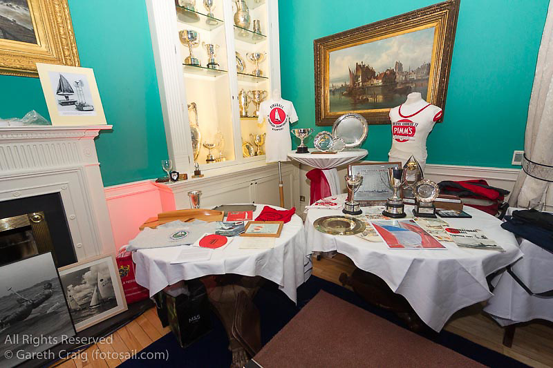 Assorted memorabilia on display at the reunion night to celebrate 50 years of the Irish Fireball Class, held at the Royal St George YC.