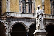 A statue of Dante in the Piazza dei Signori, Verona, Italy