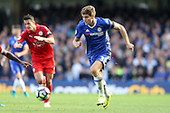 Marcos Alonso of Chelsea in action. Premier league match, Chelsea v Leicester city at Stamford Bridge in London on Saturday 15th October 2016.<br /> pic by John Patrick Fletcher, Andrew Orchard sports photography.
