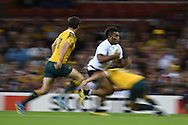 Metuisela Talebula of Fiji makes a run down the wing.  Rugby World Cup 2015 pool A match, Australia v Fiji at the Millennium Stadium in Cardiff, South Wales  on Wednesday 23rd September 2015.<br /> pic by  Andrew Orchard, Andrew Orchard sports photography.