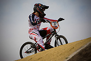 #8 (POST Alise) USA at the UCI BMX Supercross World Cup in Papendal, Netherlands.