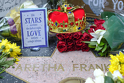 August 16, 2018 - Los Angeles, California, U.S - Flowers and messages are placed on Aretha Franklin's star at the Hollywood Walk of Fame Thursday in Los Angeles. Franklin, the glorious ''Queen of Soul'' and genius of American song, died Thursday morning at her home in Detroit of pancreatic cancer. She was 76. (Credit Image: © Ringo Chiu via ZUMA Wire)