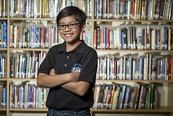 May 24, 2019 - Los Angeles, California, U.S. - Lawrence Middle School student Ayle Guevarra, 12-years old, will be competing at Scripps National Spelling Bee. (Credit Image: © Hans Gutknecht/SCNG via ZUMA Wire)