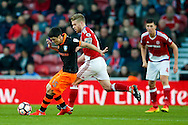 Sheffield Wednesday forward  Fernando Forestieri (45) is chased by Middlesbrough defender, on loan from Arsenal, Calum Chambers (25)  during the The FA Cup match between Middlesbrough and Sheffield Wednesday at the Riverside Stadium, Middlesbrough, England on 8 January 2017. Photo by Simon Davies.