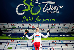 Winner in best young rider classification Kristijan HOCEVAR of ADRIA MOBIL celebrates at trophy ceremony after the 2nd Stage of 27th Tour of Slovenia 2021 cycling race between Zalec and Celje (147 km), on June 10, 2021 in Slovenia. Photo by Vid Ponikvar / Sportida