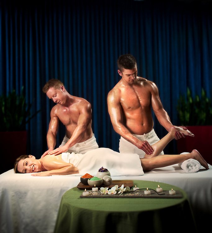 """Ultimate Massage, shot for the """"Living the Life"""", advertising campaign for Seisware. <br /> Client: Seisware<br /> Agency: SAW Communications<br /> Art Director: Jonathan Barnes<br /> Stylist: Judith Aldama<br /> Hair & Makeup: Teslin Ward<br /> Photographer: Brett Gilmour"""