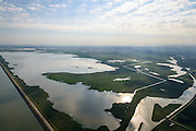 Nederland, Flevoland, Gemeente Lelystad, 27-08-2013; Oostvaardersplassen met Grote Plas. Links Markermeer en Oostvaardersdijk.<br /> Bird sanctuary and nature reserve Oostvaardersplassen north-east of the city of Almere, Markermeer (lake) left.<br /> luchtfoto (toeslag op standaard tarieven);<br /> aerial photo (additional fee required);<br /> copyright foto/photo Siebe Swart.