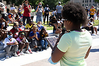 """Logan Milton, 11, speaks at a #YouthSpeakUP gathering in solidarity with the """"Black Lives Matter"""" movement onSaturday, June 13 in Washington, D.C. The event began with a youth discussion at 10:00 am at Freedom Plaza and conclude with a peaceful protest walk to """"Black Lives Matter Plaza,"""" joining hundreds of marchers from all over the country demonstrating against racial injustice in the United States."""