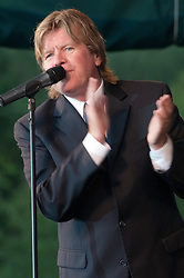 Peter Noone, at the start of the show, with Herman's Hermits at the Hamden Free Summer Concert Series. July 11, 2009 Town Center Park at Meadowbrook. Photo tweaked August 2011.