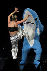 Katy Perry gets into a fight on stage with 'Left Shark' during final leg of her Tour. Katy arrived for the final leg of her North American Witness Tour in Vancouver, Canada. Katy was recording the show for promotional purposes and put on an extravagant performance, which included fighting with the famous 'Left Shark' from the Superbowl she performed at 2 years ago. Katy was seen getting dragged around the floor before performing a karate kick . 05 Feb 2018 Pictured: Katy Perry. Photo credit: MEGA TheMegaAgency.com +1 888 505 6342