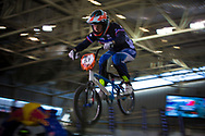 #57 (AILLOUD Eva) FRA at the 2014 UCI BMX Supercross World Cup in Manchester.