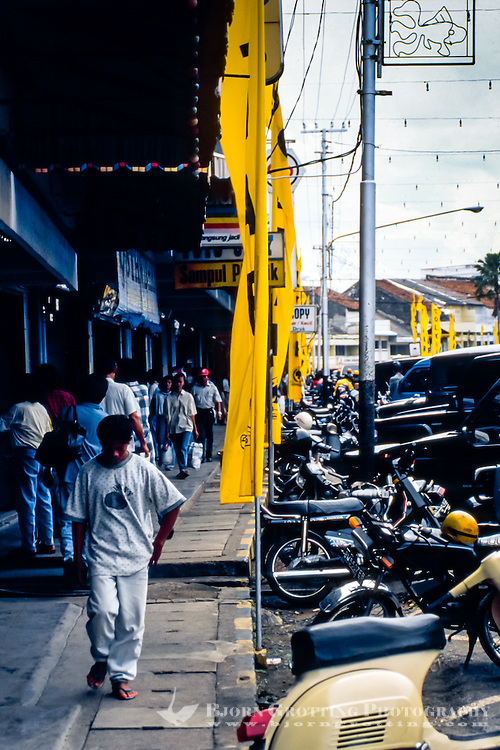 Riau Islands, Bintan. From the center of Tanjung Pinang.  Golkar banners in 1997.