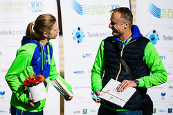 Tina Sutej 2nd place in pole vault at European Championships with her coach Milan Kranjc during reception and press conference on return of Slovenian Athletic National team from European Championships in Torun (POL), on March 8, 2021 in  Ljubljana, Slovenia.  Photo by Grega Valancic / Sportida