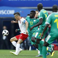 June 19, 2018 - Moscow, Russia - Group H Poland v Senegal  - FIFA World Cup Russia 2018 .Robert Lewandowski (Poland) and Alfred Ndiaye (Senegal) at Spartak Stadium in Moscow, Russia on June 19, 2018. (Credit Image: © Matteo Ciambelli/NurPhoto via ZUMA Press)
