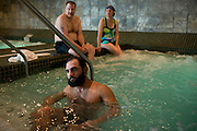 Johny Hendricks cuts weight in the hot tub at Lifetime Fitness 6 days before his title fight with Robbie Lawler at UFC 171in Mansfield, Texas on March 9, 2014.