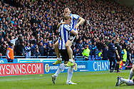 Sheffield Wednesday striker Fernando Forestieri (45) and Sheffield Wednesday defender Glenn Loovens (5) celebrate the second goal (2-0) during the Sky Bet Championship match between Sheffield Wednesday and Cardiff City at Hillsborough, Sheffield, England on 30 April 2016. Photo by Ellie Hoad.