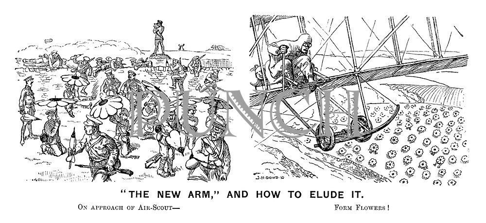 """""""The new arm,"""" and how to elude it. On approach of air-scout - Form flowers!"""