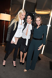 Left to right, AMANDA CRONIN, NANCY DELL'OLIO and CAROLE SILLER at the launch of Samsung's NX Smart Camera at charity auction with David Bailey in aid of Marie Curie Cancer Care at the Bulgari Hotel, 171 Knightsbridge, London on 14th May 2013.
