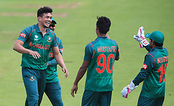 Bangladesh's Taskin Ahmed (left) celebrates after taking the wicket of New Zealand's Ross Taylor during the ICC Champions Trophy, Group A match at Sophia Gardens, Cardiff.