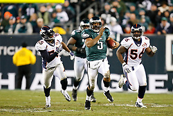 Philadelphia Eagles quarterback Donovan McNabb #5 runs the ball during the NFL game between the Denver Broncos and the Philadelphia Eagles on December 27th 2009. The Eagles won 30-27 at Lincoln Financial Field in Philadelphia, Pennsylvania. (Photo By Brian Garfinkel)