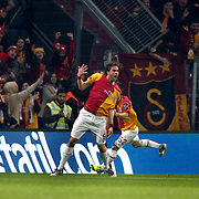 Galatasaray's Johan Elmander (L) celebrate his goal during their Turkish superleague soccer derby match Galatasaray between Besiktas at the TT Arena at Seyrantepe in Istanbul Turkey on Sunday, 26 February 2012. Photo by TURKPIX