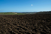 Ploughed field on the Isle of Wight, UK.