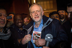 © Licensed to London News Pictures. 04/12/2015. London, UK. JEREMY CORBYN prepares to speak at an anti-Islamophobia rally and protest against racism and anti-muslim hate crime, outside the Finsbury Park Mosque in north London. The rally, organised by Finsbury Park Mosque, Stand Up To Racism and Stop The War Coalition follows an attempted arson attack on Finsbury Park Mosque last week and was attended by Labour Party leader and local MP for Islington North, Jeremy Corbyn. Photo credit : Vickie Flores/LNP