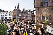 Nederland, the netherlands, Nijmegen, 12-3-2017Terrassen in Nijmeegse binnenstad, burchtstraat en Grote Markt FOTO: FLIP FRANSSEN