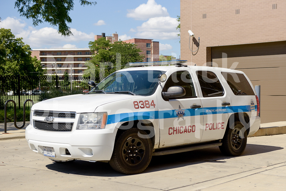 Chicago Police Department SUV vehicle outside the District 12 building in Chicago on Wednesday, Aug. 19, 2020.  Photo by Mark Black