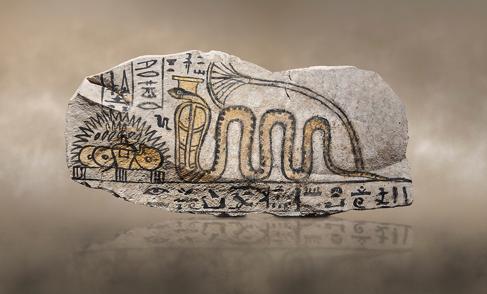 Ancient Egyptian ostracon dedicated by Amenkhau to Mereteseger, limestone, New Kingdom, 20th Dynasty, (1187-1150 BC), Deir el-Medina, ODrovetti cat 1564. Egyptian Museum, Turin. .<br /> <br /> If you prefer to buy from our ALAMY PHOTO LIBRARY  Collection visit : https://www.alamy.com/portfolio/paul-williams-funkystock/ancient-egyptian-art-artefacts.html  . Type -   Turin   - into the LOWER SEARCH WITHIN GALLERY box. Refine search by adding background colour, subject etc<br /> <br /> Visit our ANCIENT WORLD PHOTO COLLECTIONS for more photos to download or buy as wall art prints https://funkystock.photoshelter.com/gallery-collection/Ancient-World-Art-Antiquities-Historic-Sites-Pictures-Images-of/C00006u26yqSkDOM