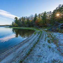 The shoreline of Great South Pond in The Wildlands Trust's Cortelli Preserve in Plymouth, Massachusetts.