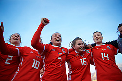 ZENICA, BOSNIA AND HERZEGOVINA - Tuesday, November 28, 2017: Wales Natasha Harding, Alice Griffiths and Hayley Ladd celebrate the 1-0 victory over Bosnia and Herzegovina during the FIFA Women's World Cup 2019 Qualifying Round Group 1 match between Bosnia and Herzegovina and Wales at the FF BH Football Training Centre. (Pic by David Rawcliffe/Propaganda)
