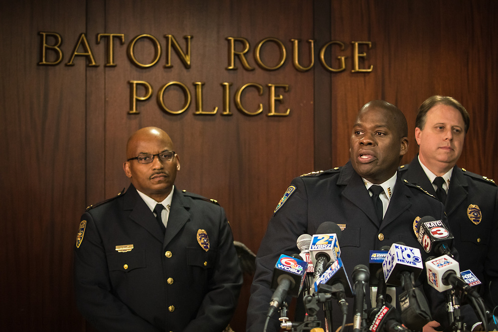 March 3, 2018, Baton Rouge Police Chief Murphy Paul holding a press confernce to announce that he fired Officer Blane Salamoni, who shot Alton Sterling. The other officer involved in the shooting -- Howie Lake II -- was suspended without pay for three days.