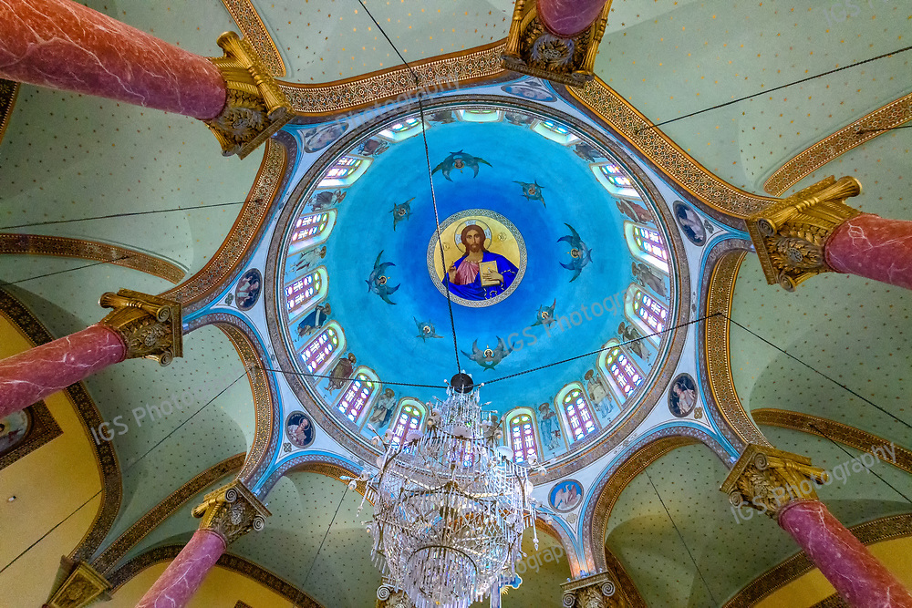 Looking up at the interior of the Dome of St. George's Greek Orthodox Church in Coptic Cairo