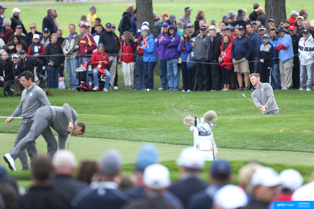 Ryder Cup 2016. Chris Wood of Europe plays a shot on the 17th during practice day in front of massive crowds at the Hazeltine National Golf Club on September 28, 2016 in Chaska, Minnesota.  (Photo by Tim Clayton/Corbis via Getty Images)