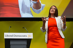 Bournemouth, UK. 15 September, 2019. Jane Dodds, the Welsh Liberal Democrat leader, addresses the Liberal Democrat Autumn Conference. Credit: Mark Kerrison/Alamy Live News