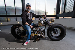 Stéphane Grand of t4 Motor-Cycles (Geneva) after the Swiss-Moto Customizing and Tuning Show where they took first place in . Zurich, Switzerland. Sunday, February 24, 2019. Photography ©2019 Michael Lichter.